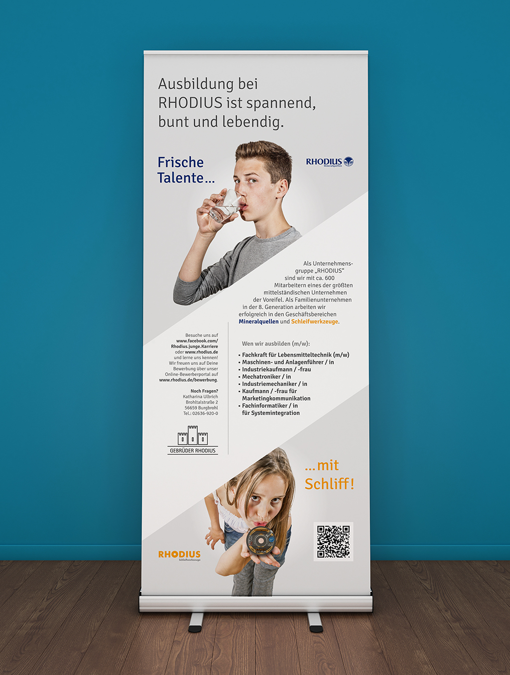 Blank roll-up banner template. 3D rendering